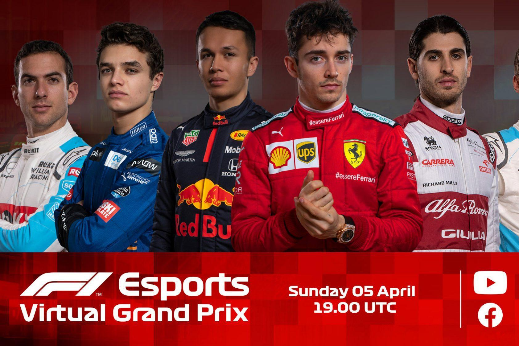 What time does the F1 Esports Virtual GPx start and who's driving?
