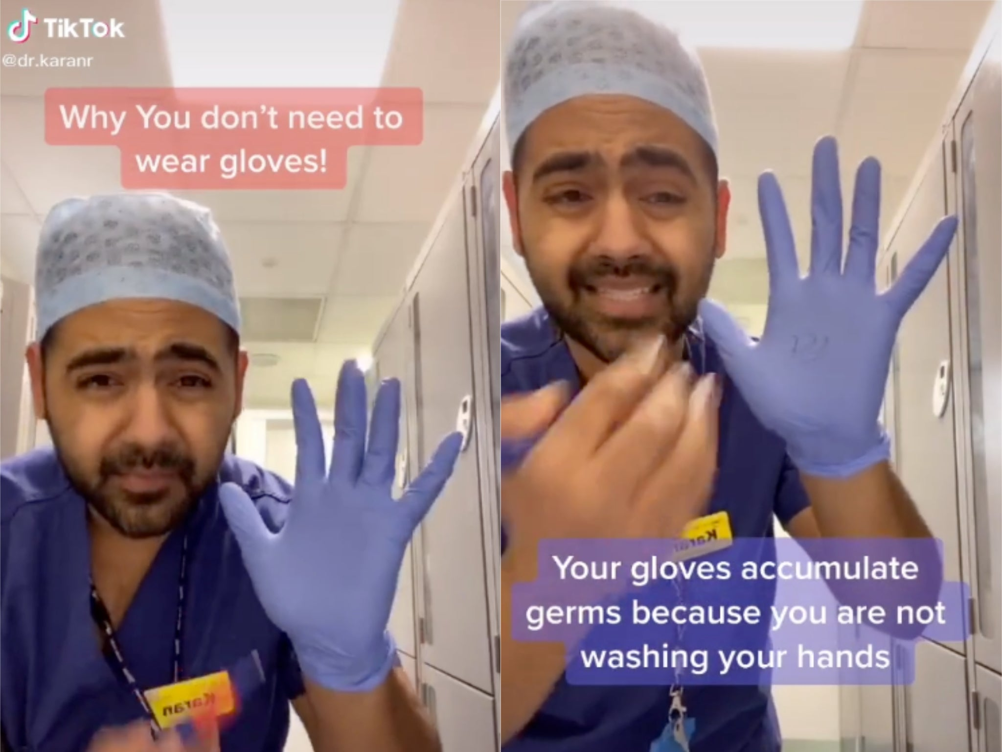 Coronavirus: NHS doctor shows how wearing gloves when you go out could spread germs
