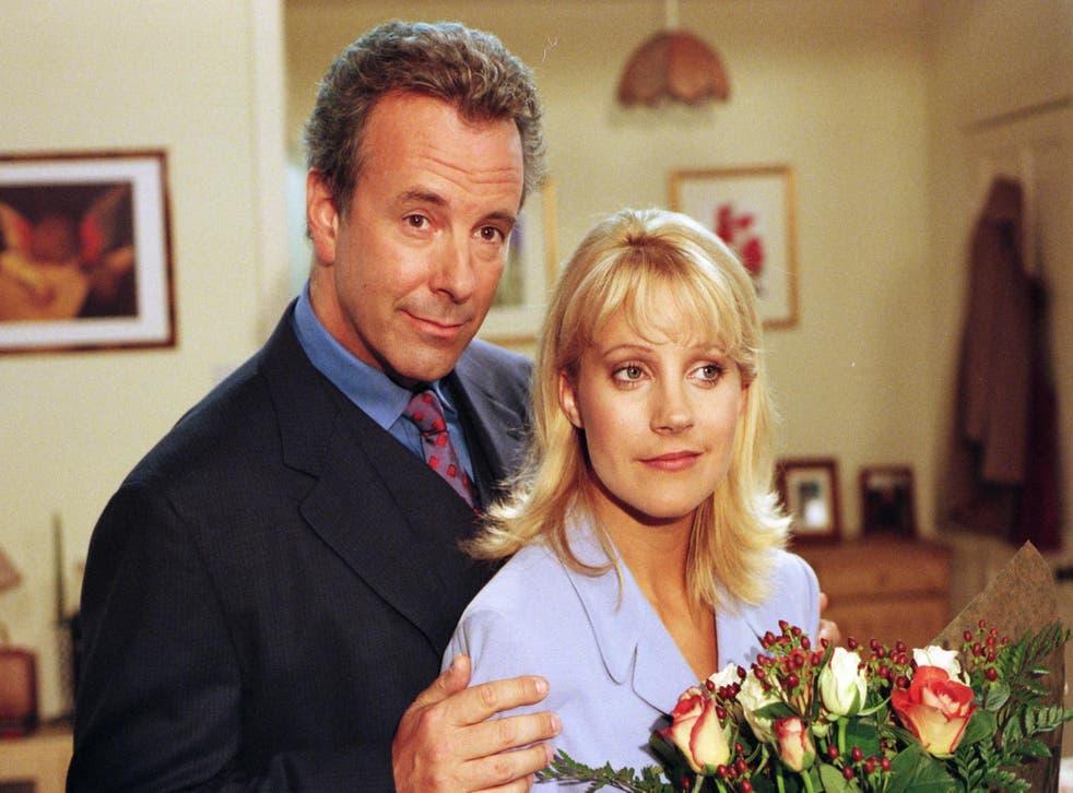 Jay Benedict (left) as Doug Hamilton in Emmerdale in 1997.