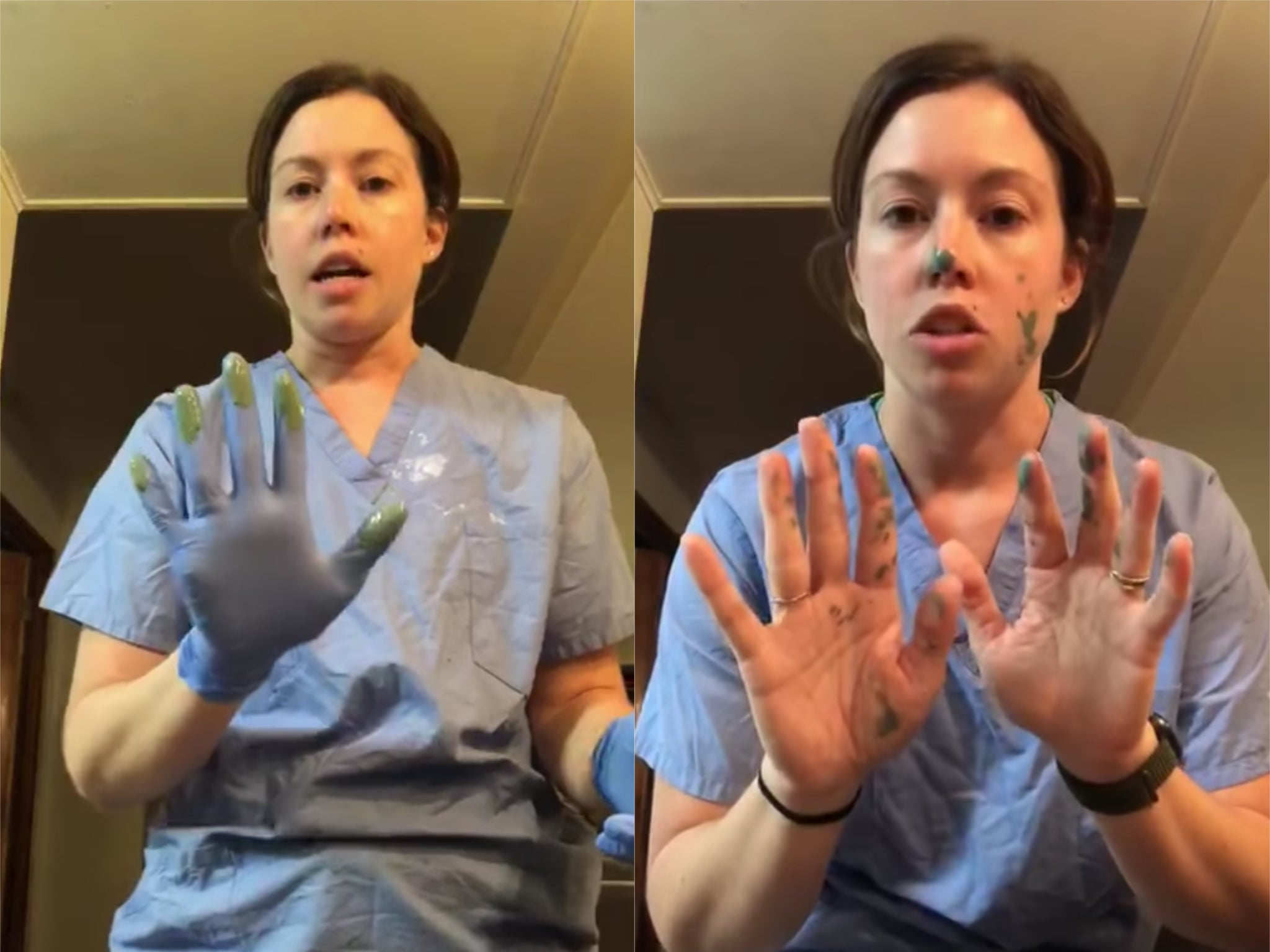 Coronavirus: Nurse demonstrates how wearing gloves can cause cross-contamination of germs