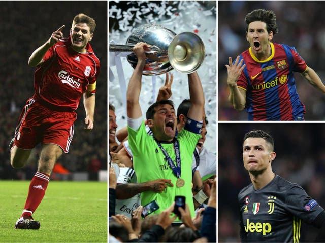 Steven Gerrard, Iker Casillas, Lionel Messi and Cristiano Ronaldo