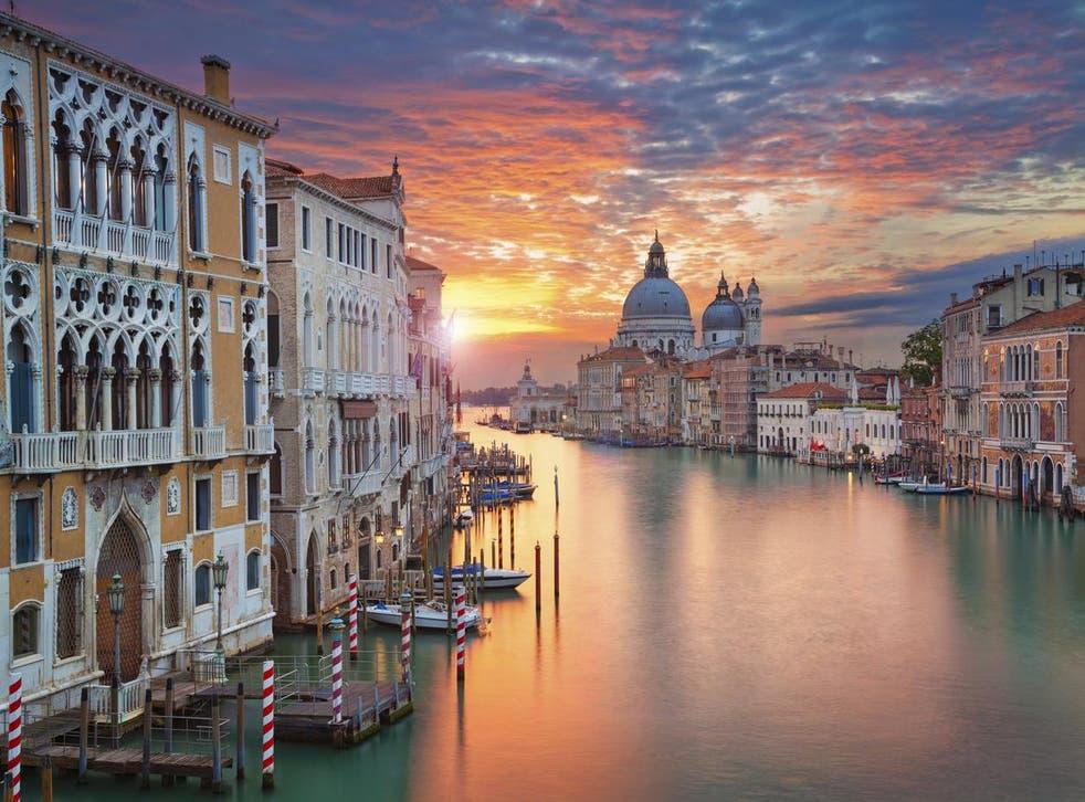 The Grand Canal in Venice, with Santa Maria della Salute Basilica in the background