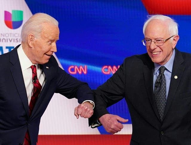 Joe Biden made a direct appeal to supporters of the Vermont senator