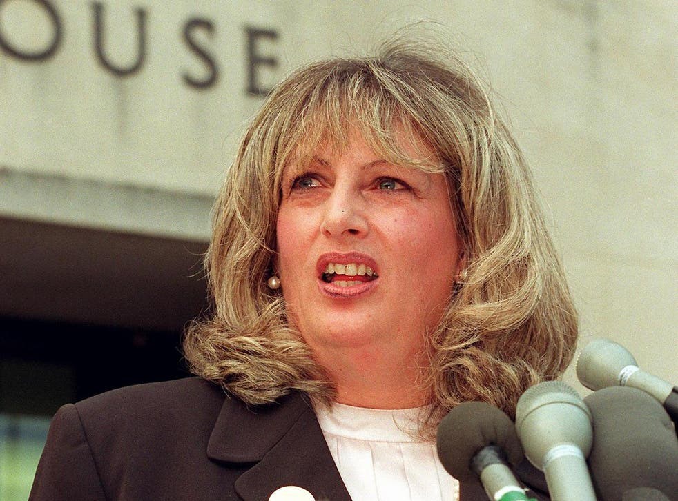 Linda Tripp talks to reporters outside of the Federal Courthouse in Washington DC during the Monica Lewinsky investigation