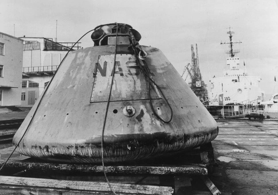 The Apollo boilerplate capsule BP-1227 at the docks at Murmansk after being recovered by Soviet fishermen in the Golfe de Gascogne (Bay of Biscay), France. It was later returned to the US