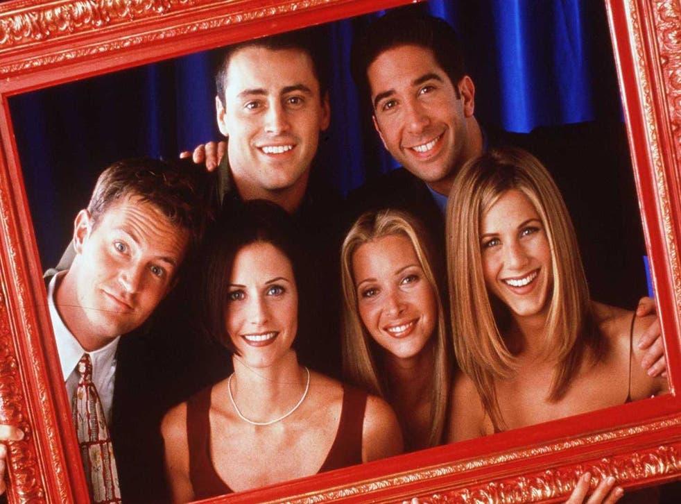 Matt LeBlanc, David Schwimmer, Matthew Perry, Courteney Cox, Lisa Kudrow and Jennifer Aniston in a promotional shot.