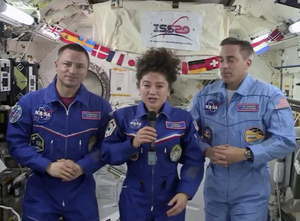 NASA astronauts Drew Morgan, Jessica Meir, and Chris Cassidy (left to right) are currently aboard the International Space Centre during the Covid-19 pandemic