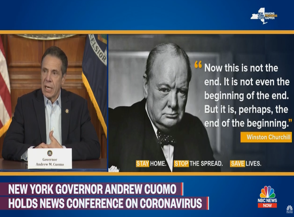 """New York Governor Andrew Cuomo invoked wartime British Prime Minister Winston Churchill as the number of deaths from coronavirus in the state appeared to be stabilizing, but at a """"horrific rate"""""""