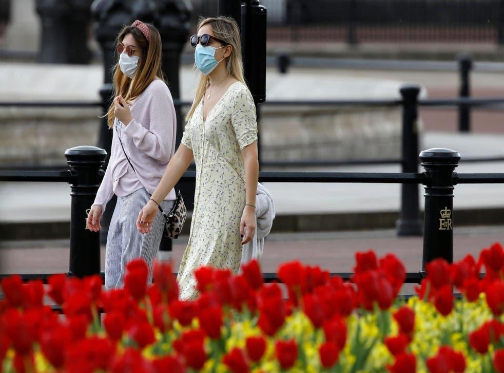 Women in masks near Buckingham Palace, central London