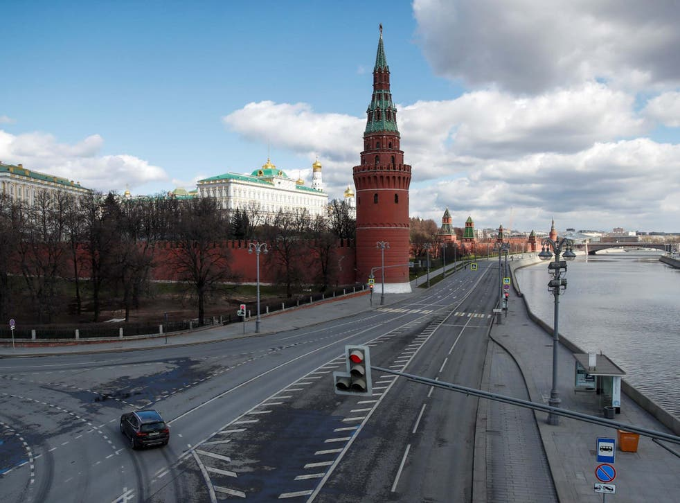 A view shows an embankment of the Moskva River near the Kremlin in central Moscow, Russia