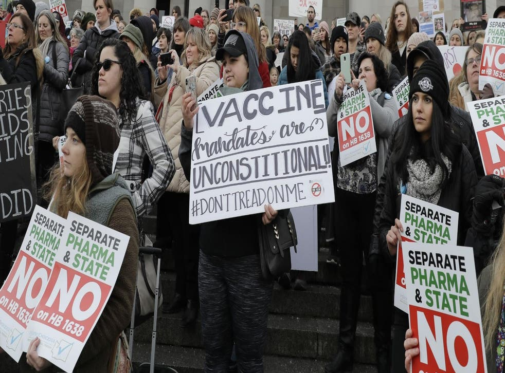 A 2019 vaccination protest in Vancouver, Washington, USA