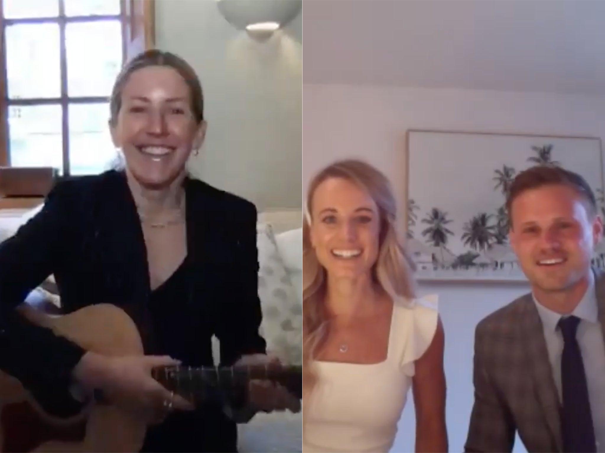 Ellie Goulding surprises NHS nurse with live performance during Zoom wedding thumbnail