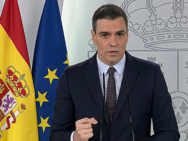 Pedro Sanchez addresses the nation saying children are to be allowed out for 'fresh air' as of 27 April