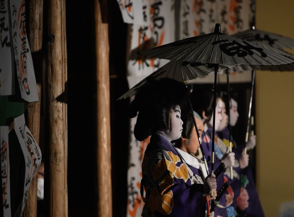 Young Kabuki performers at a school in Damine, central Japan