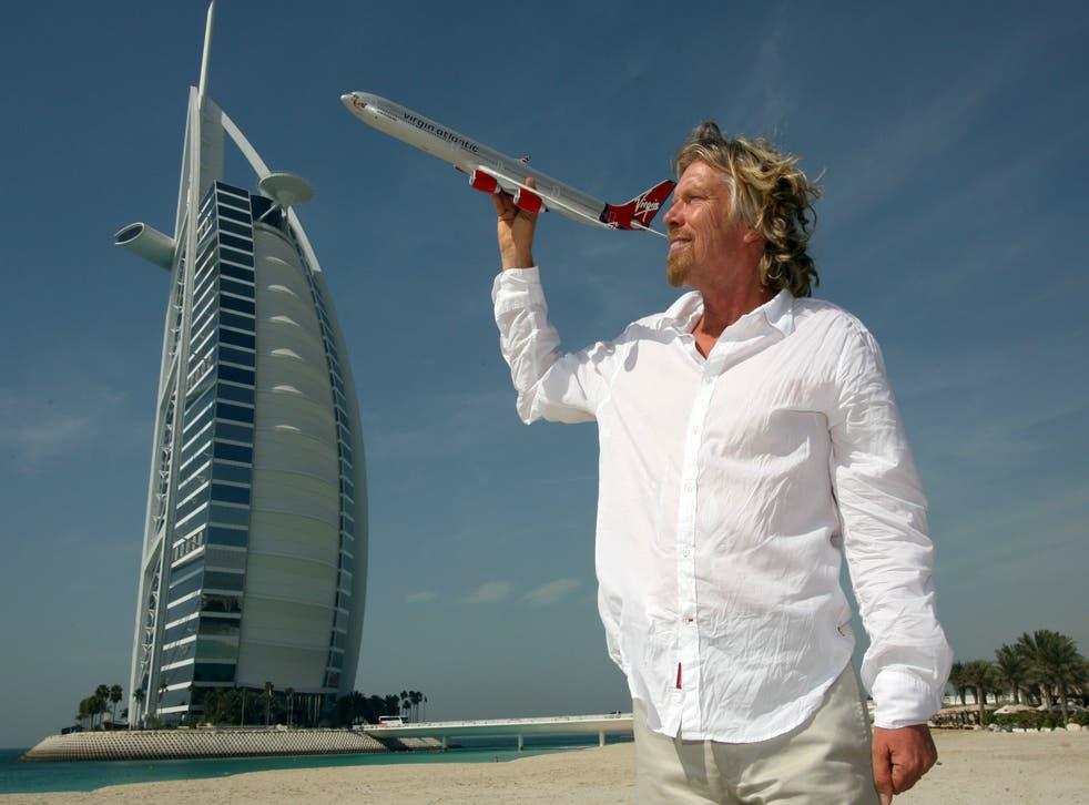 Richard Branson promotes the inaugural flight of the Virgin Atlantic Airbus A340 to Dubai in 2006