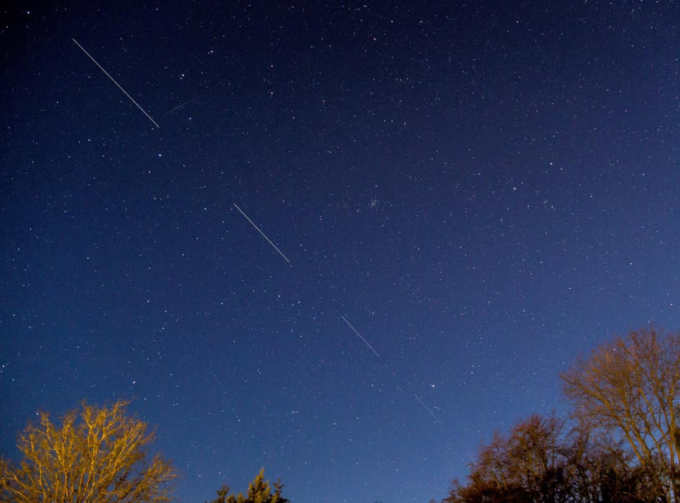 SpaceX Starlink satellites are pictured in the sky seen from Svendborg on South Funen, Denmark 21 April, 2020
