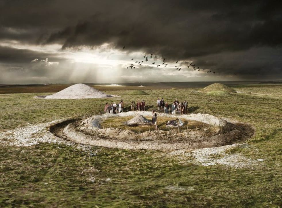 This artist's impression shows a funeral ceremony at an Early Bronze Age burial enclosure