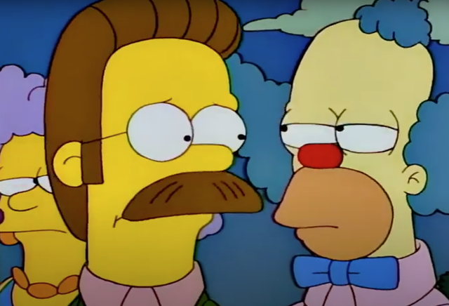 A Simpsons writer thinks Homer, who was not supposed to be in a Mr Burns scene, was redrawn as Krusty the Clown