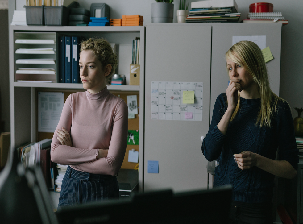 Julia Garner and Kitty Green on the set of The Assistant