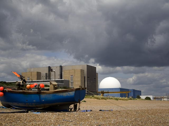 Sizewell B nuclear power station in Suffolk is seen behind a local fishing boat