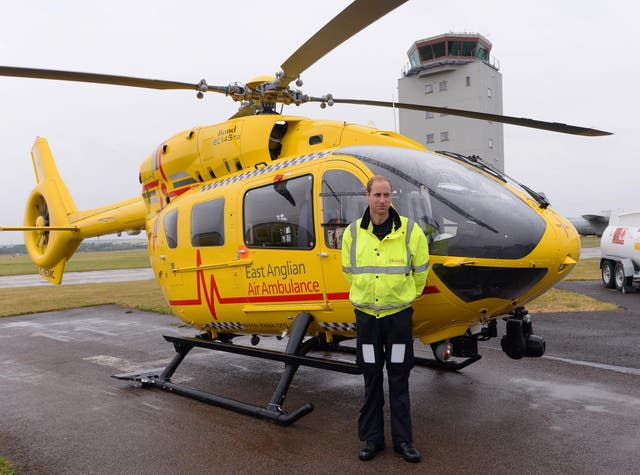 Prince William, The Duke of Cambridge as he begins his new job with the East Anglian Air Ambulance (EAAA) at Cambridge Airport on July 13, 2015 in Cambridge, England