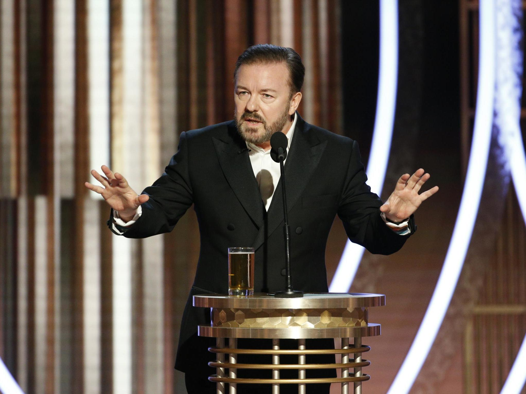 Ricky Gervais says he negotiated with 15 lawyers and executives over how to refer to Judi Dench's genitals at the Golden Globes