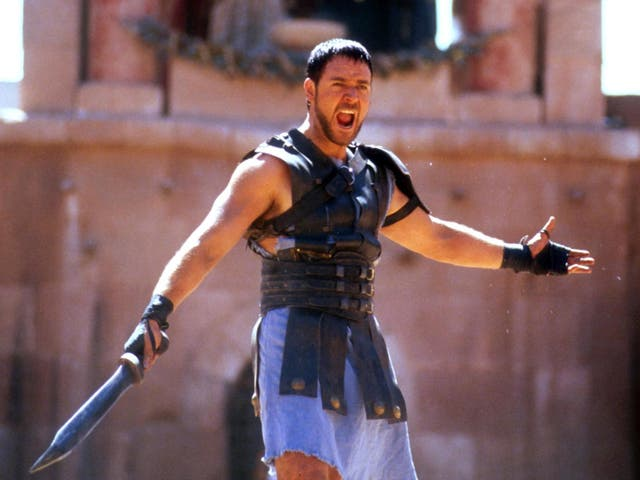 Are you not entertained? Russell Crowe won Best Actor at the Oscars for his role as warrior hero Maximus in Ridley Scott's Gladiator