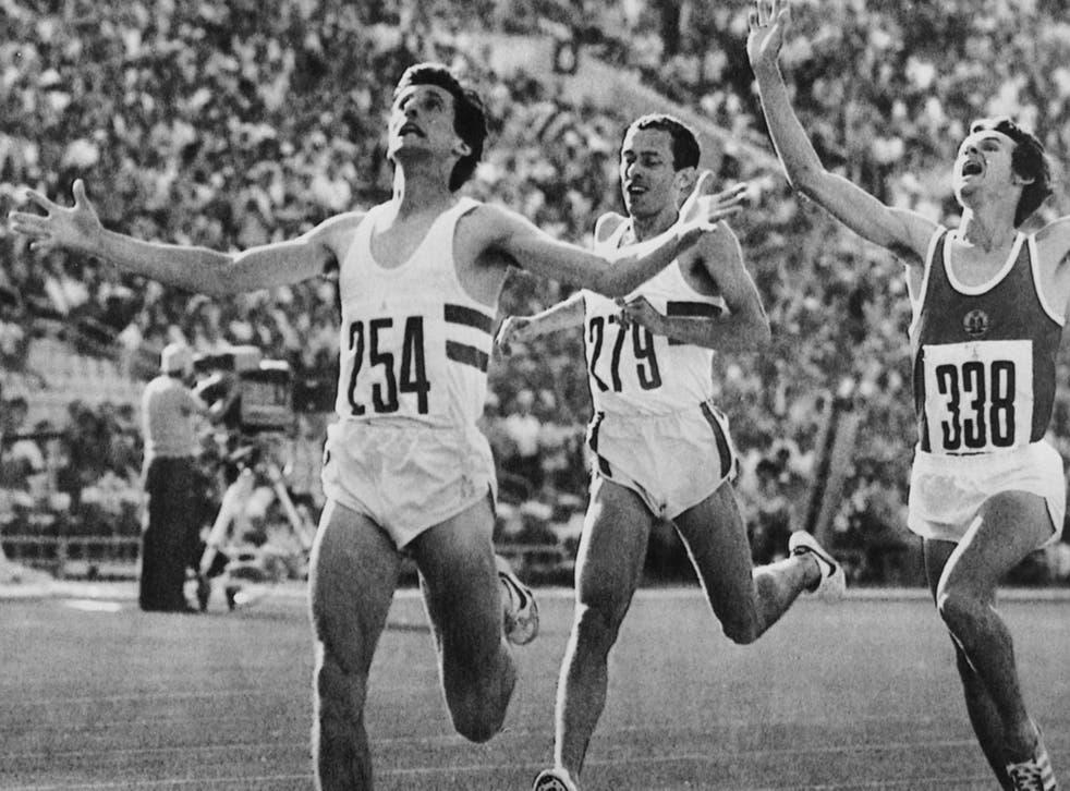 Sebastian Coe wins the 1500m final at the Moscow Olympics. Ovett took bronze