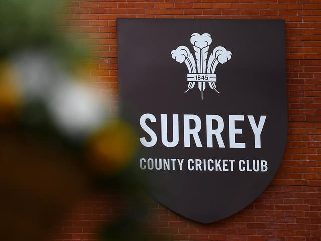 A detailed view of the Surrey badge
