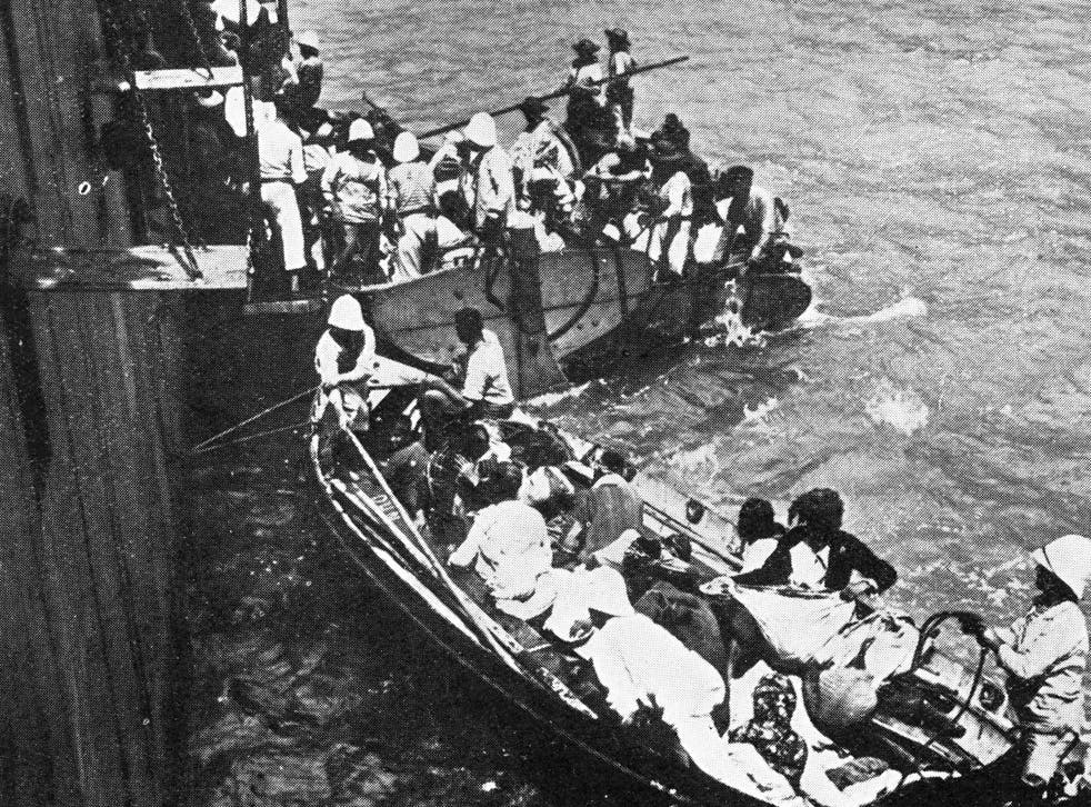 A French warship rescues Armenian refugees fleeing from the massacre of their people by Turkish forces