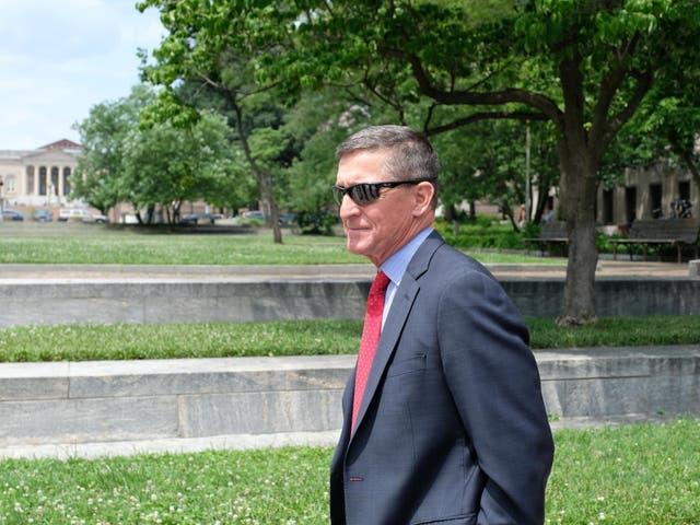 Former national security adviser Michael Flynn leaves the E Barrett Prettyman courthouse on 24 June 2019, in Washington DC