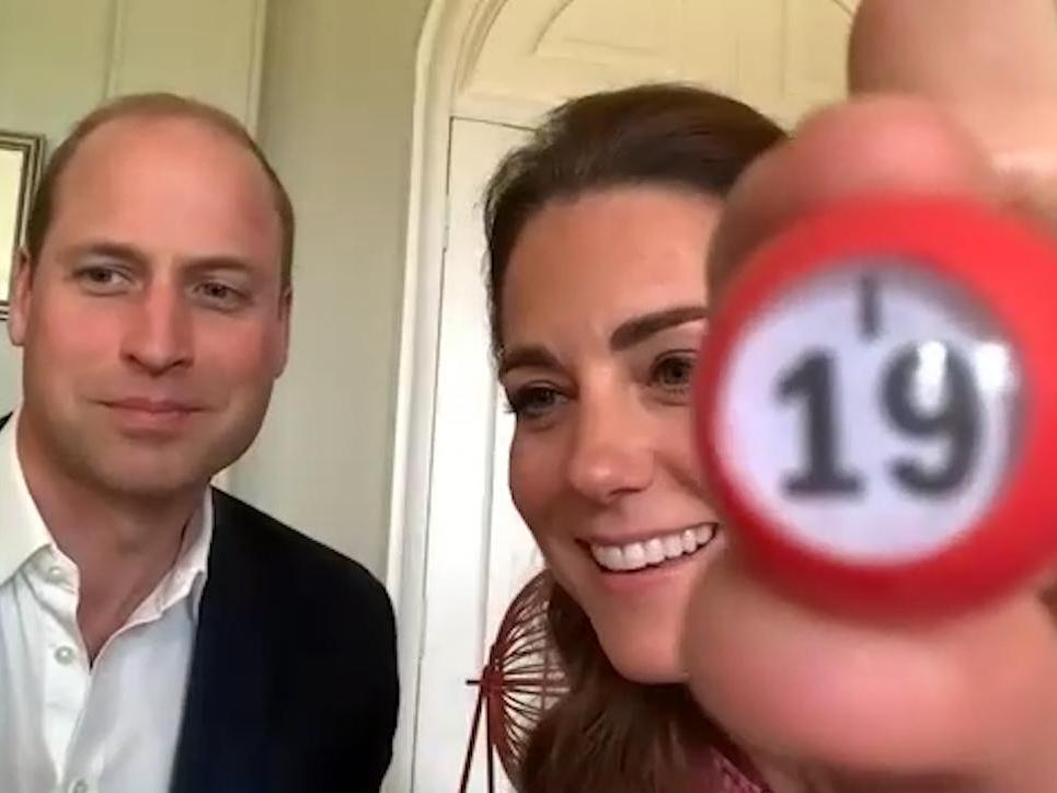 Prince William and Kate Middleton play virtual bingo with care home residents