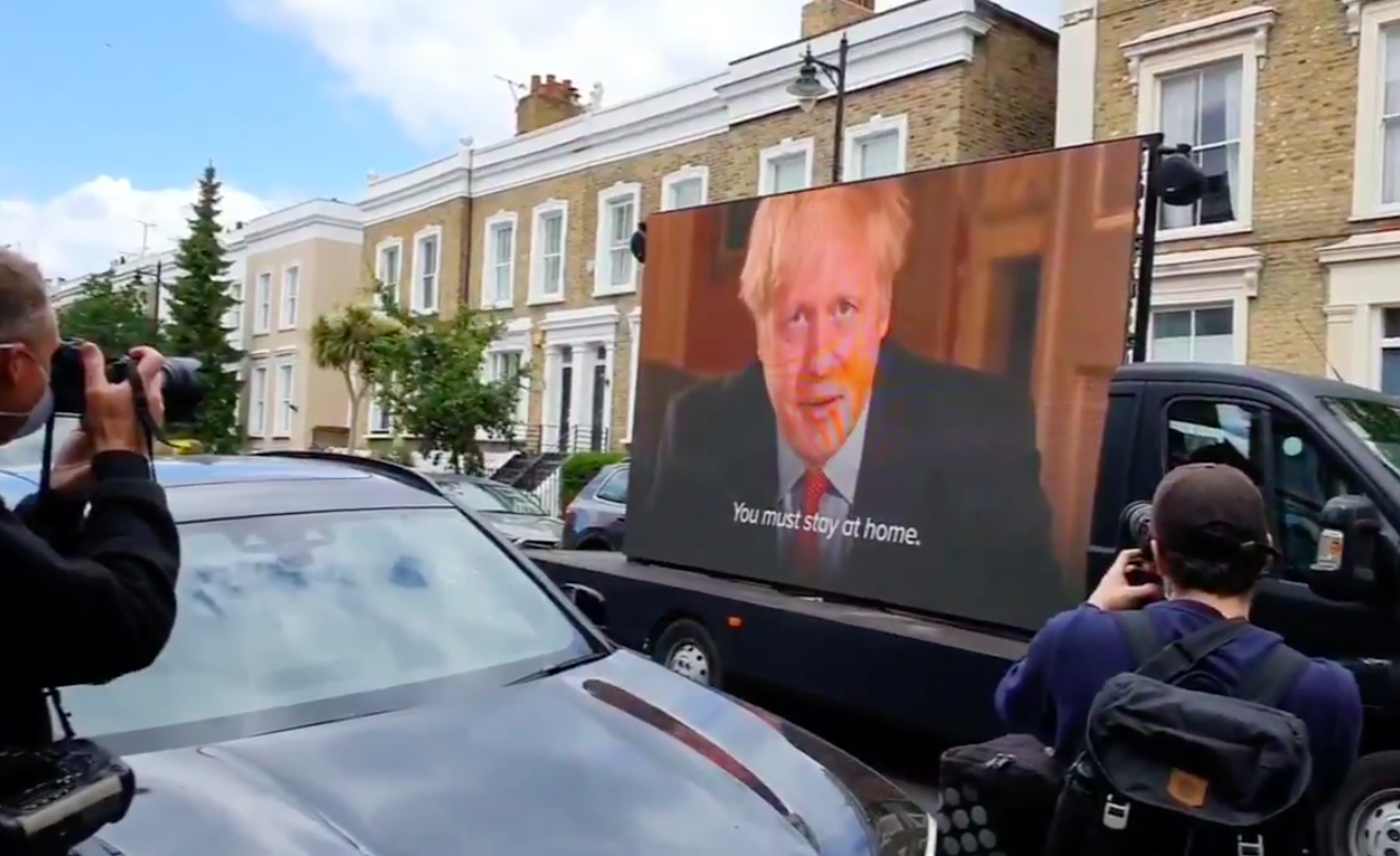 Van plays Boris Johnson's 'Stay Home' message outside Dominic Cummings' house after lockdown rule-breaking revelations