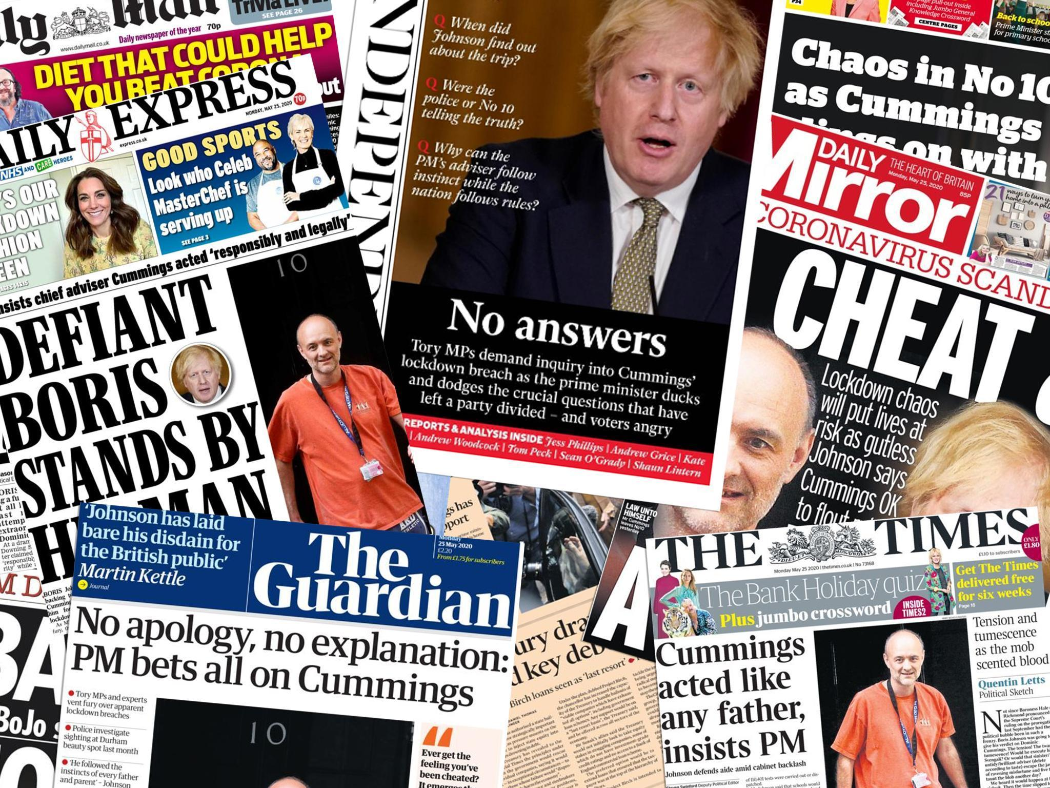 'What planet are they on?' Newspapers react after Johnson stands by Cummings