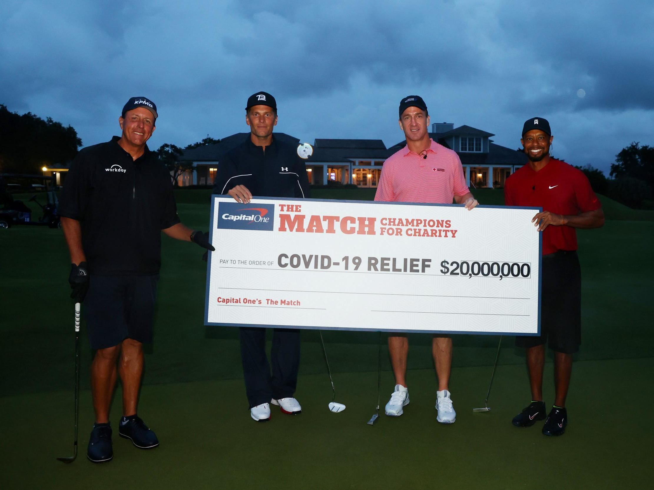 Tiger Woods, Peyton Manning, Phil Mickelson and Tom Brady raise $20million with charity golf match