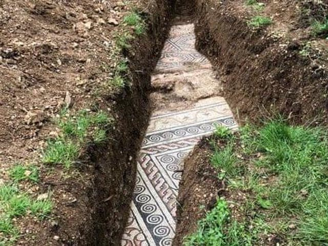 Surveyors discovered the ornate floor a few metres beneath the ground at the site of an ancient villa near the city of Verona