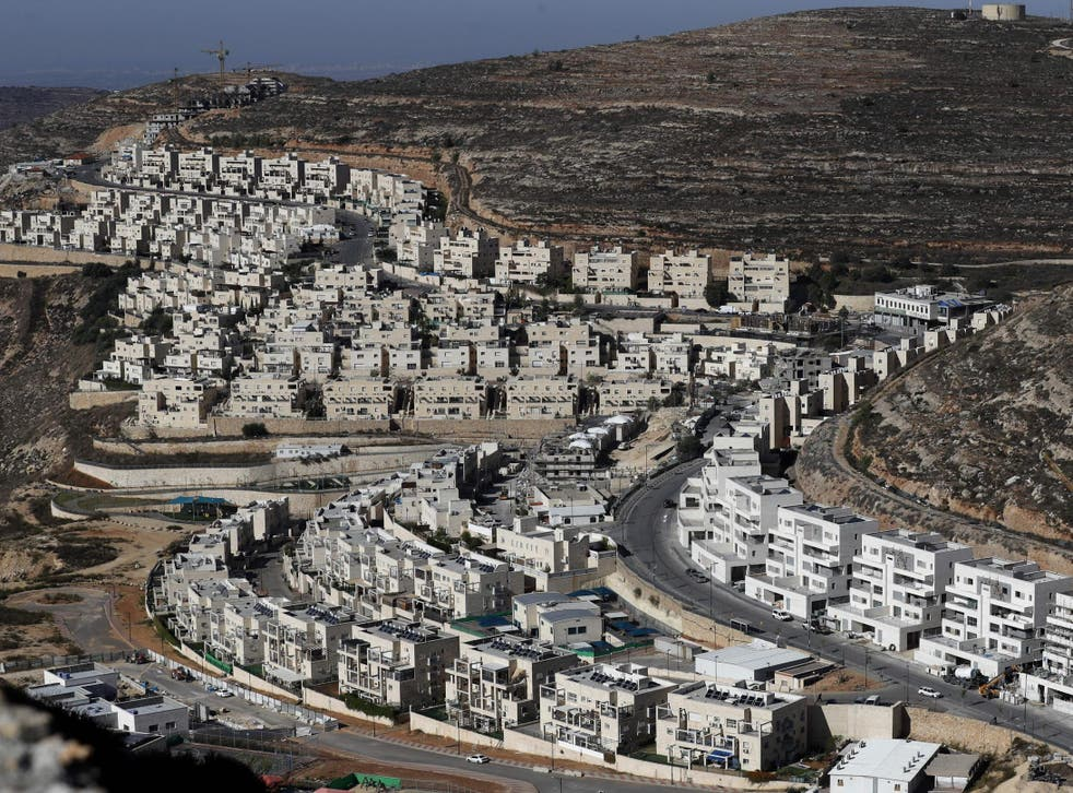 The 'illegal' Israeli settlement of Givat Zeev near the Palestinian city of Ramallah