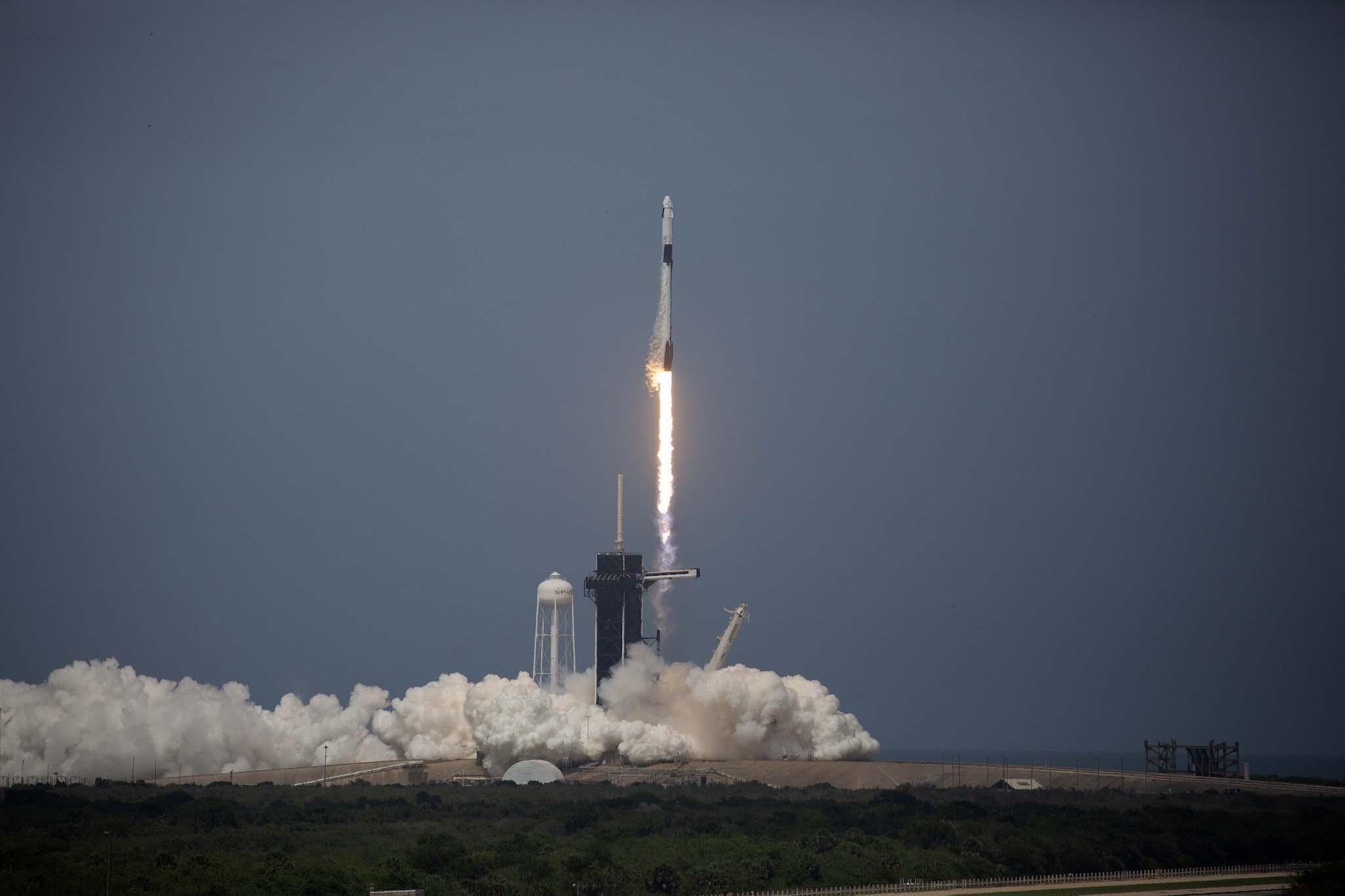Video shows SpaceX launching Nasa astronauts into space on historic mission
