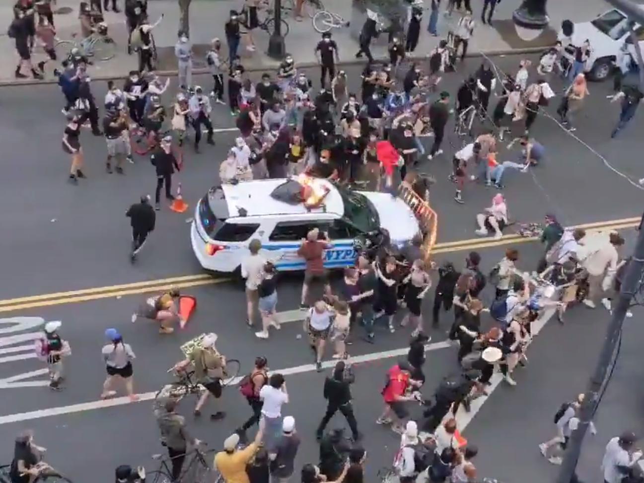 George Floyd protests: NYPD vehicle rams crowd of demonstrators in Brooklyn