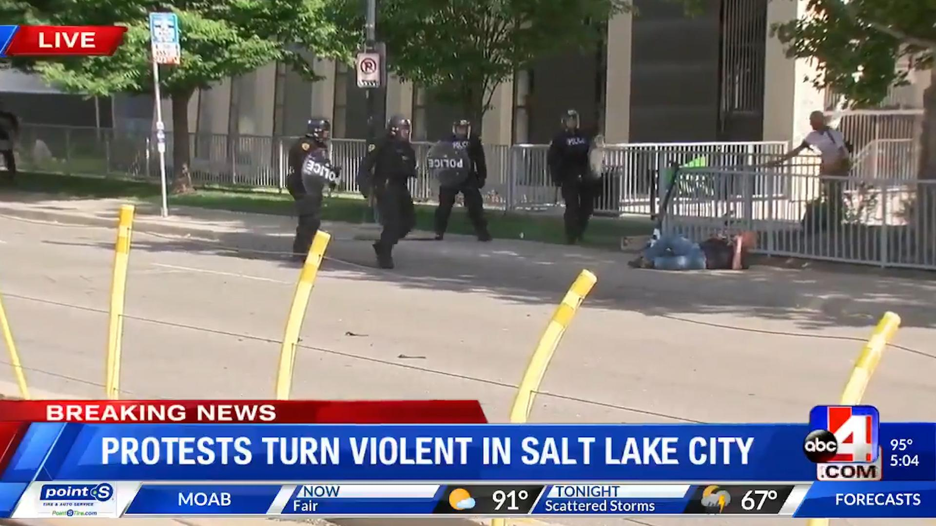 George Floyd protests: Salt Lake City police push elderly man with cane to ground