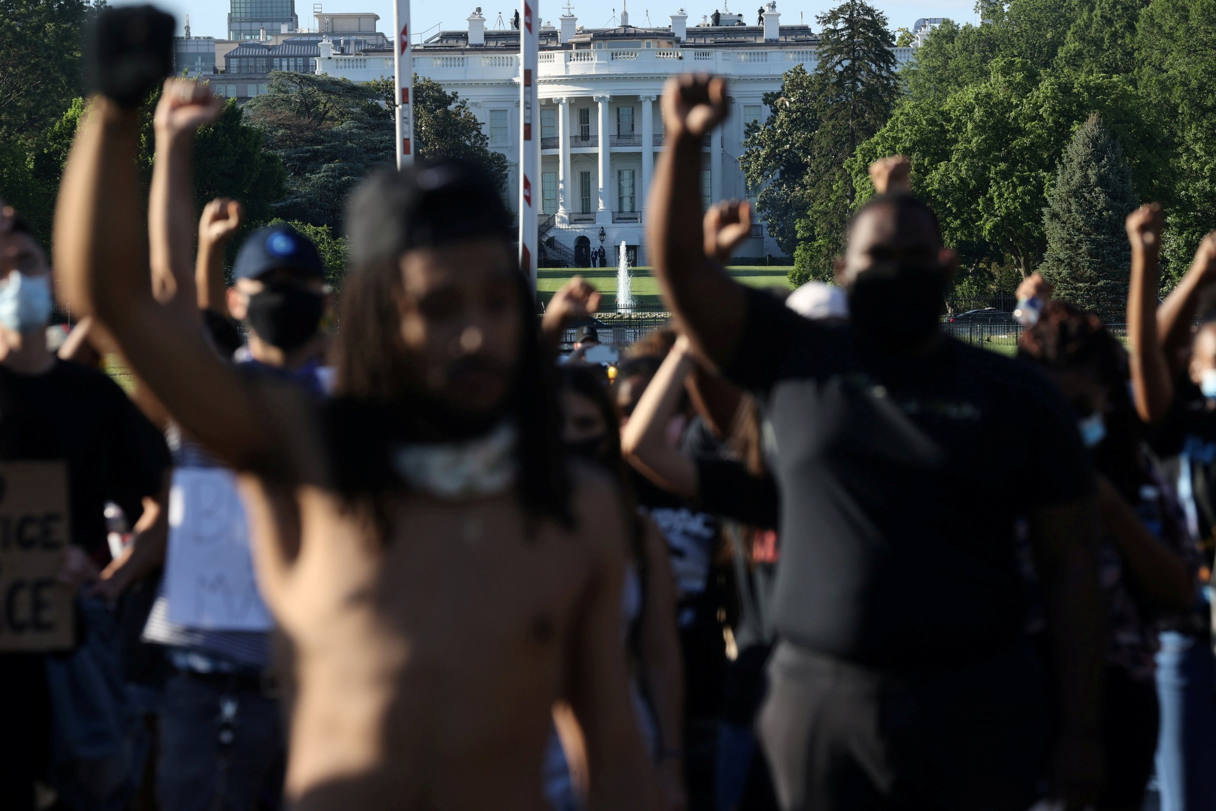 George Floyd protests - live: Fuel truck drives at protesters as Trump remains out of sight in night of fresh rage across US cities
