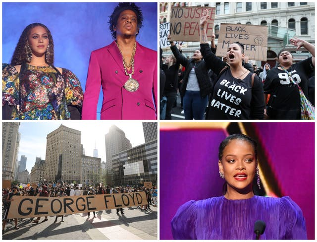 Top left clockwise: Beyonce and Jay-Z, Black Lives Matter protestors in New Zealand, Rihanna, a Black Lives Matter protest in New York City
