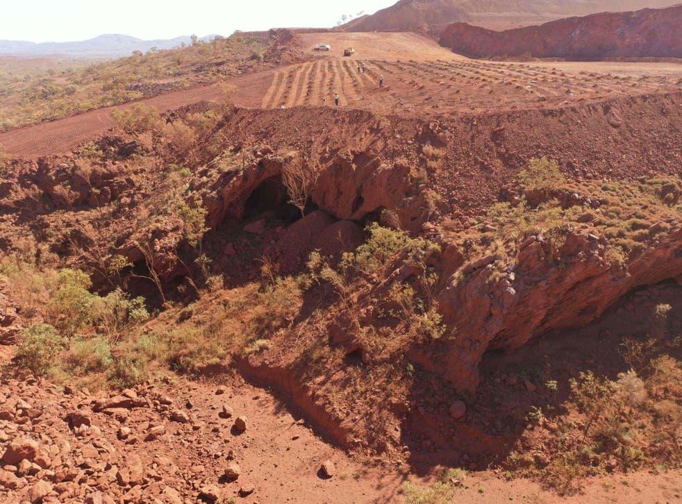Photo taken on May 15, 2020 shows Juukan Gorge in Western Australia, immediately prior to blasting
