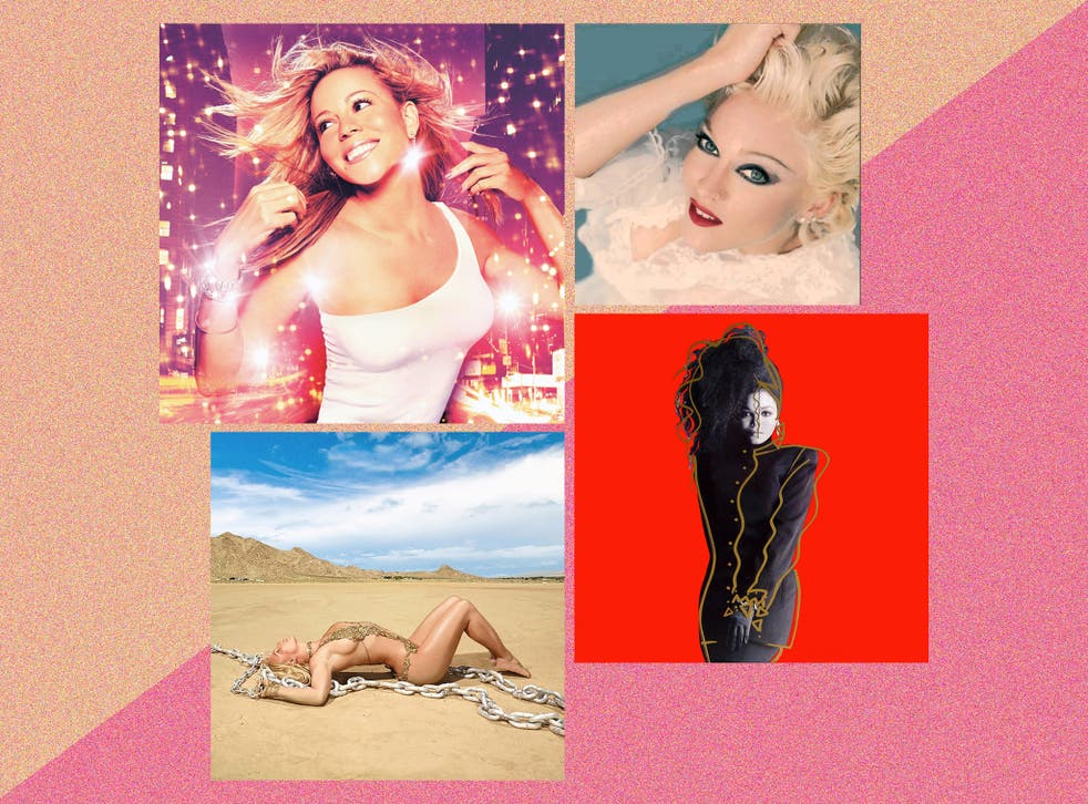 Lost greats, clockwise from top left: Mariah Carey's 'Glitter', Madonna's 'Bedtime Stories', Janet Jackson's 'Control' and Britney Spears' 'Glory'