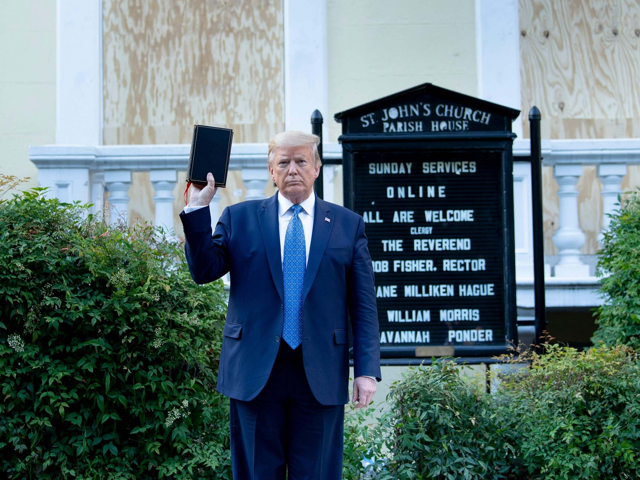 Bishop 'outraged' after Trump had protesters tear-gassed before posing with bible at her church