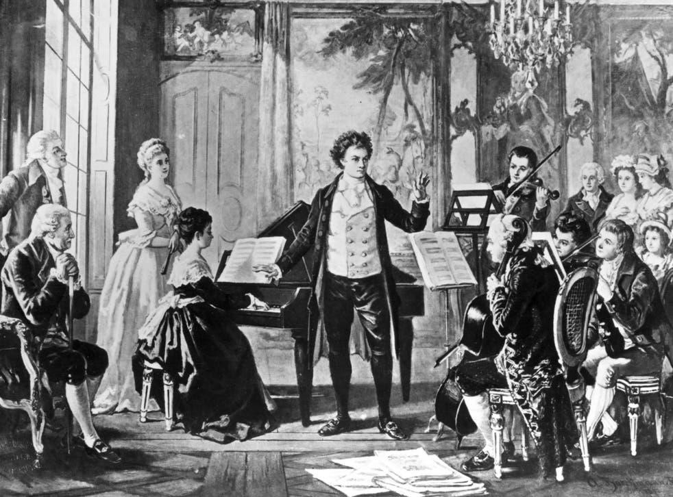 Ludwig Van Beethoven with the Rasowmowsky Quartet, drawn by the artist Borckmann