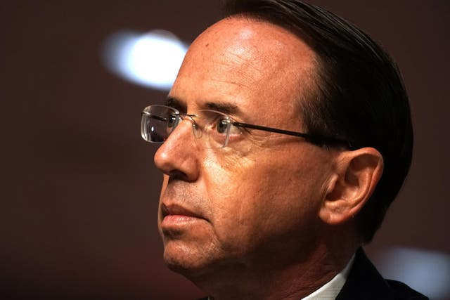 """WASHINGTON, DC - JUNE 03: Former Deputy Attorney General Rod Rosenstein testifies during a Senate Judiciary Committee hearing to discuss the FBI's """"Crossfire Hurricane"""" investigation in the Dirksen Senate Office Building June 3, 2020 in Washington DC. The Republican-led panel is exploring issues raised with warrants issued in the FBI investigation, code-named """"Crossfire Hurricane"""" at the time, of Trump campaign officials in the 2016 presidential race."""