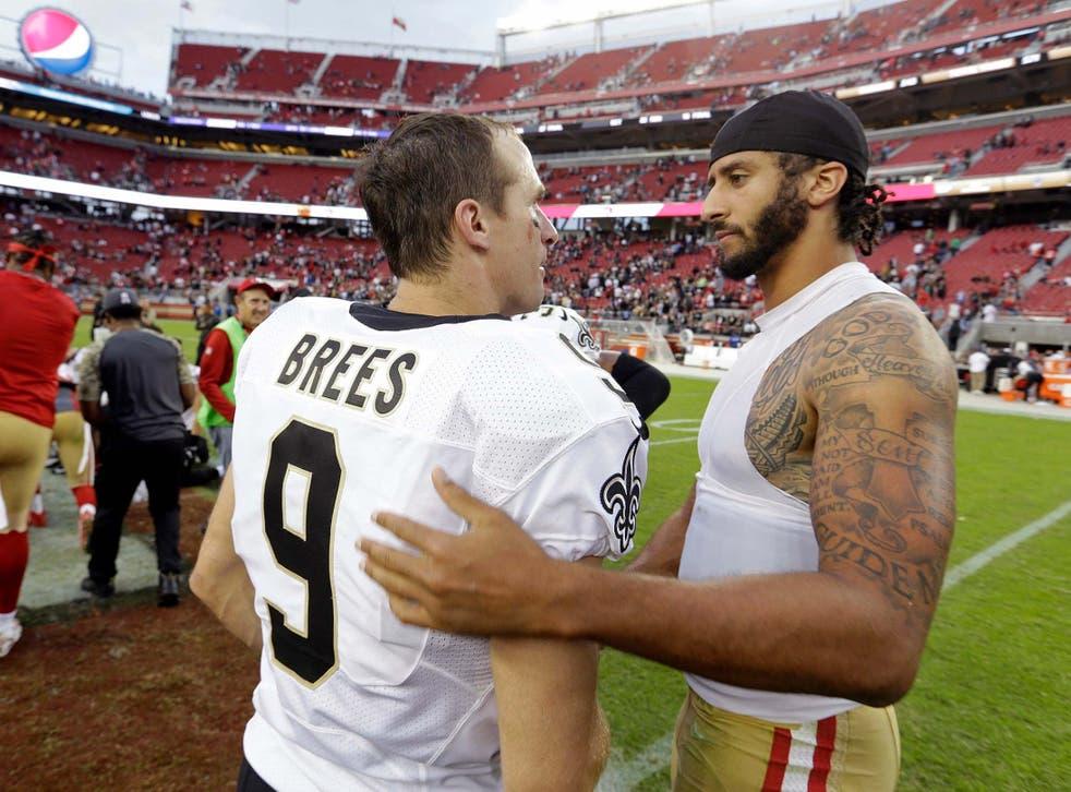 NFL quarterbacks Drew Brees and Colin Kaepernick