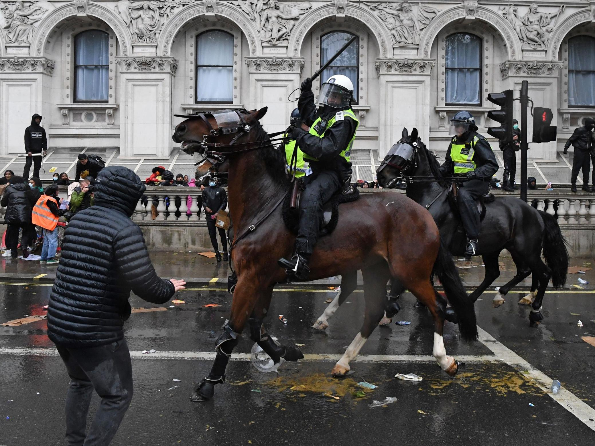 Uk Black Lives Matter Protests Officer Falls From Horse As Mounted Police Charge Protesters And Cenotaph Vandalised The Independent The Independent