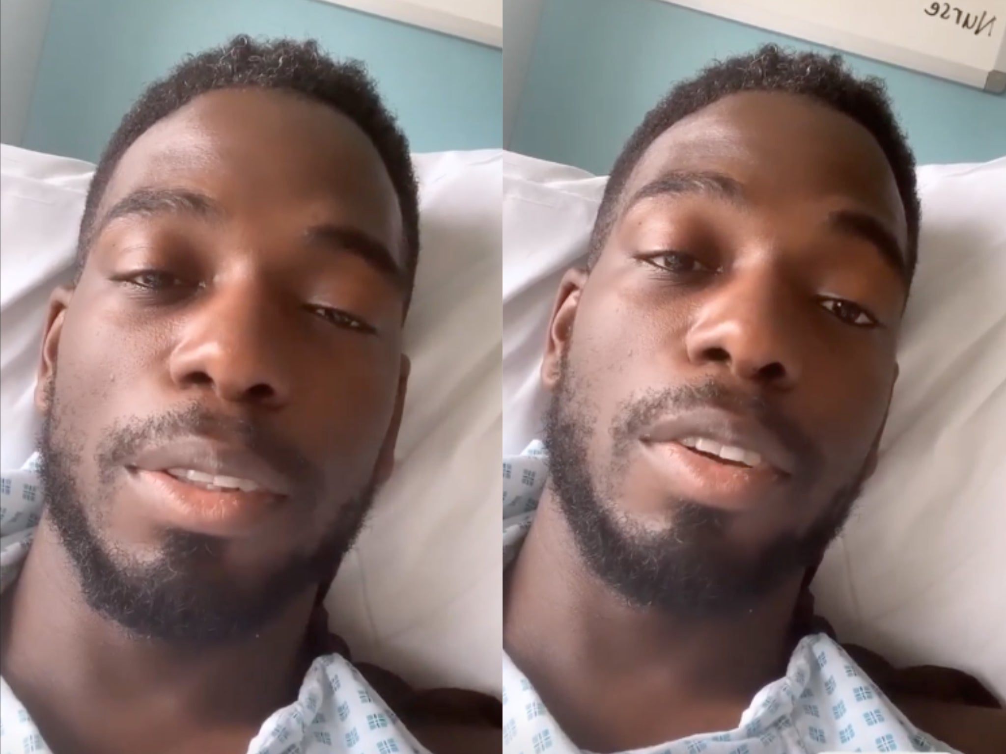 Love Island's Marcel Somerville says he 'nearly died' in video shared from hospital bed